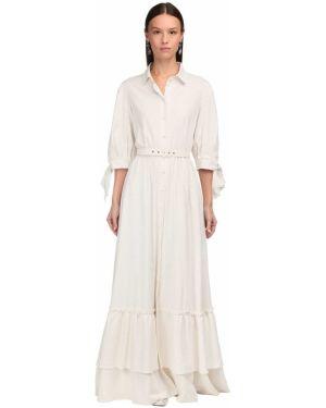 Приталенное льняное платье макси с воротником Luisa Beccaria
