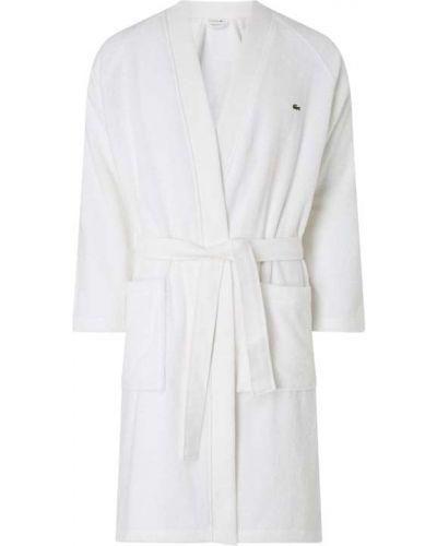 Biały szlafrok bawełniany z raglanowymi rękawami Lacoste