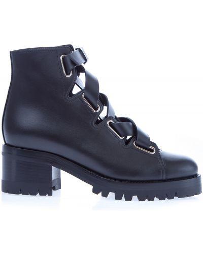 Кожаные ботинки на молнии с пряжкой Valentino