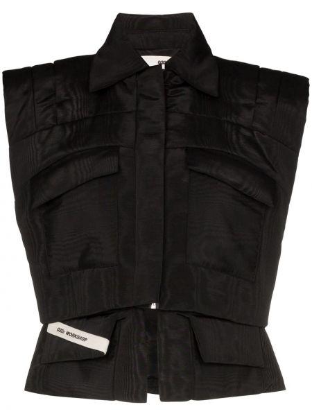 Czarna klasyczny kamizelka bez rękawów bawełniana 032c