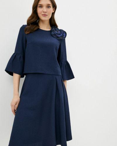 Костюмный синий юбочный костюм Adzhedo