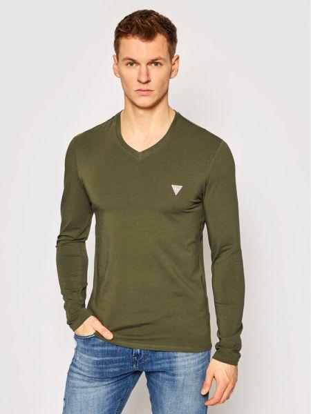 Zielony koszulka z długim rękawem Guess