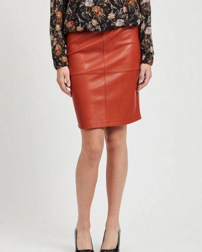Кожаная юбка красный Vila