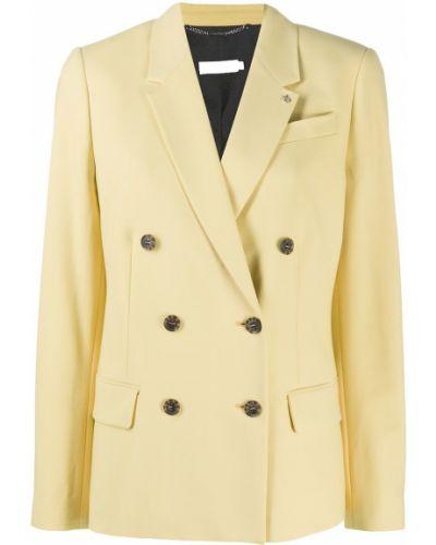 Желтый удлиненный пиджак двубортный с карманами Calvin Klein