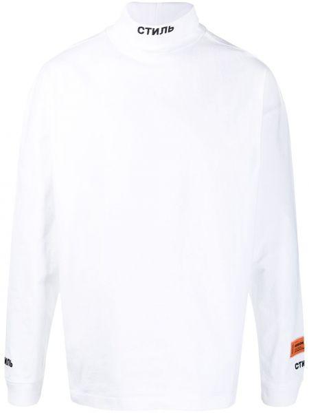 Biały z rękawami bawełna bluza z haftem Heron Preston