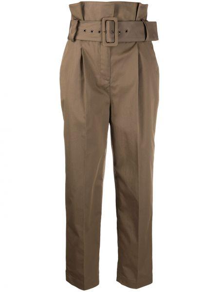Зеленые плиссированные укороченные брюки с поясом с высокой посадкой Ba&sh
