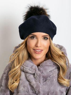 Niebieski beret materiałowy Fashionhunters