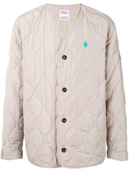 Brązowa kurtka pikowana z haftem Marcelo Burlon County Of Milan