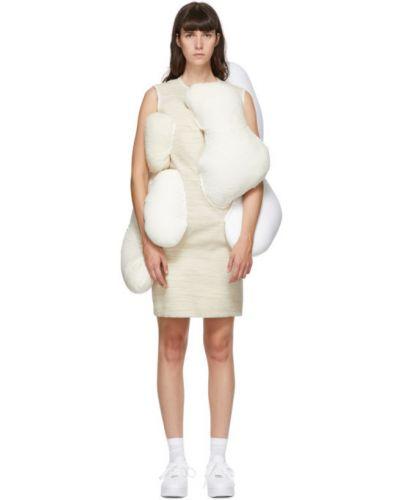 Бархатное белое платье без рукавов Comme Des Garçons