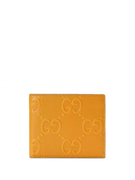 Portfel skórzany - żółty Gucci