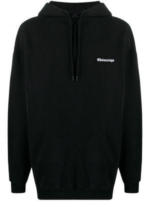 Czarna bluza długa z kapturem z haftem Balenciaga