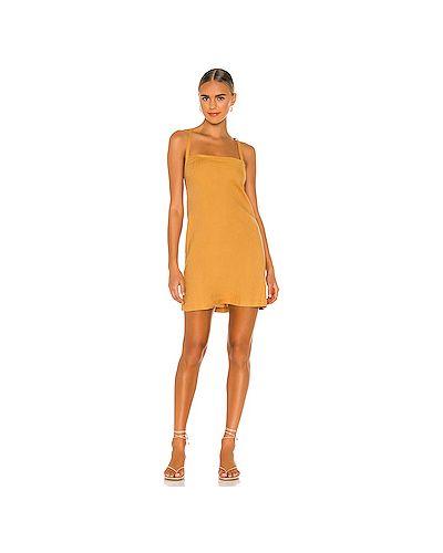 Горчичное платье из вискозы с завязками Monrow