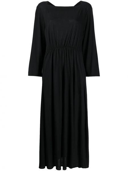 Платье макси со складками черное Henrik Vibskov
