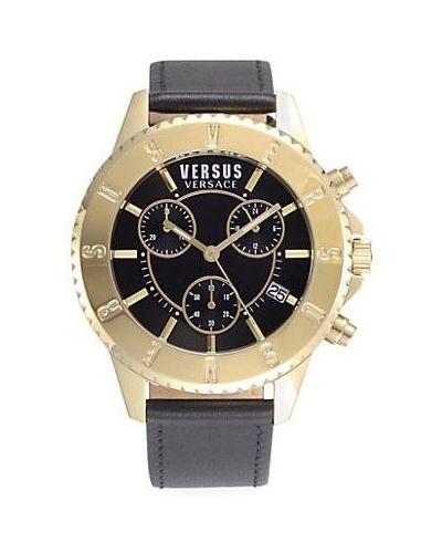 Czarny zegarek na skórzanym pasku srebrny kwarc Versus Versace