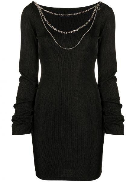 С рукавами облегающее черное платье макси Just Cavalli