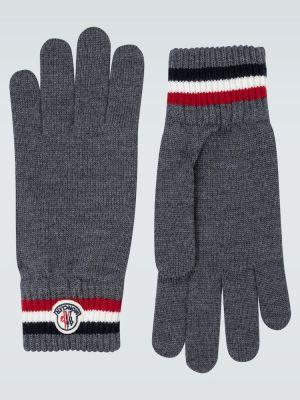 Wełniany rękawiczki z mankietami z paskami Moncler
