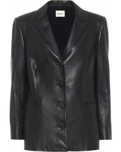 Черный кожаный пиджак винтажный Khaite