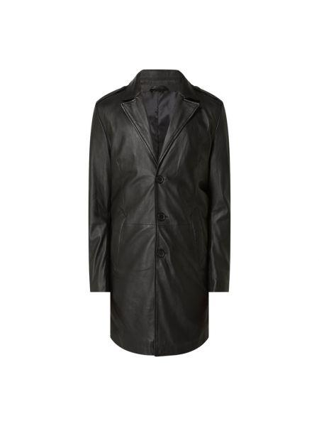 Czarny płaszcz skórzany Goosecraft