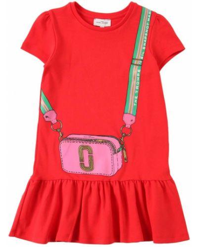 Хлопковое красное платье Little Marc Jacobs