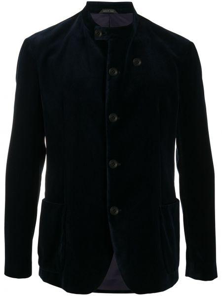 С рукавами синий пиджак с воротником-стойка на пуговицах Giorgio Armani