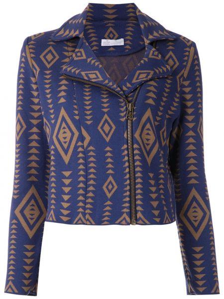 Синий классический пиджак с воротником на молнии Nk