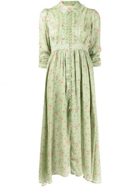 Zielona satynowa sukienka koronkowa w kwiaty Bytimo