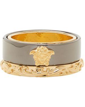Pierścień czarny ze złota Versace