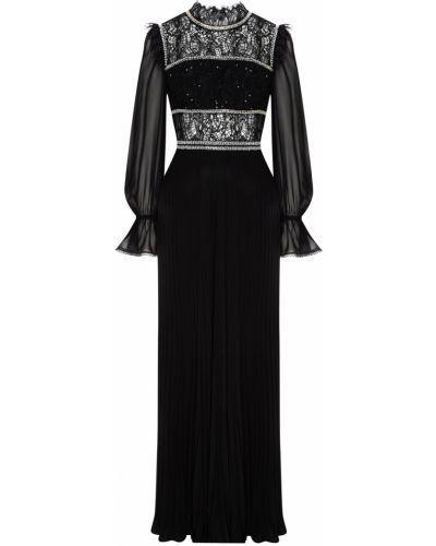 Кружевное с рукавами черное платье макси Self-portrait