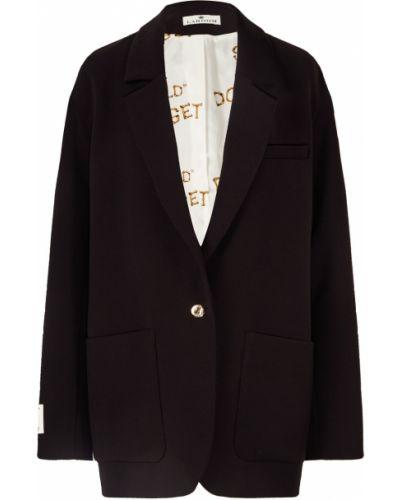 Однобортный черный удлиненный пиджак на пуговицах из вискозы Laroom