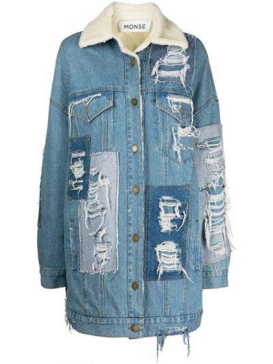 Джинсовая куртка из овчины - синяя Monse