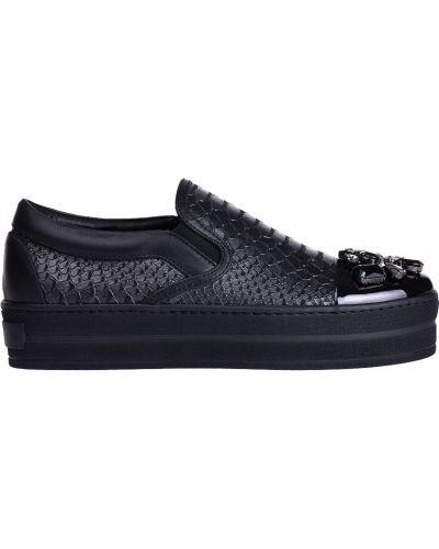 Кожаные слипоны - черные Stokton