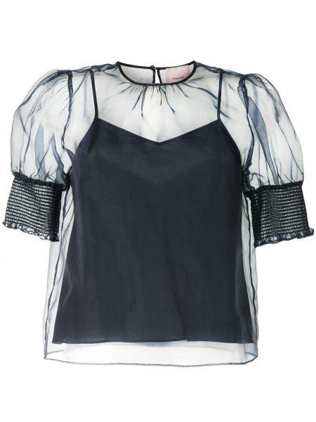 Прямая блузка прозрачная на пуговицах с вырезом Cinq À Sept