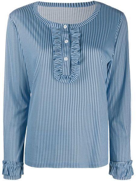 Синий пижамный топ с оборками на пуговицах Viktor & Rolf