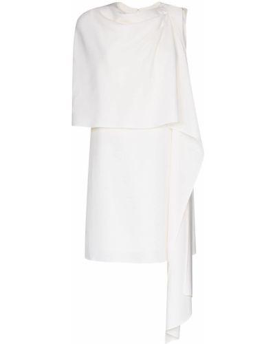 Шелковое белое платье мини с драпировкой Oscar De La Renta