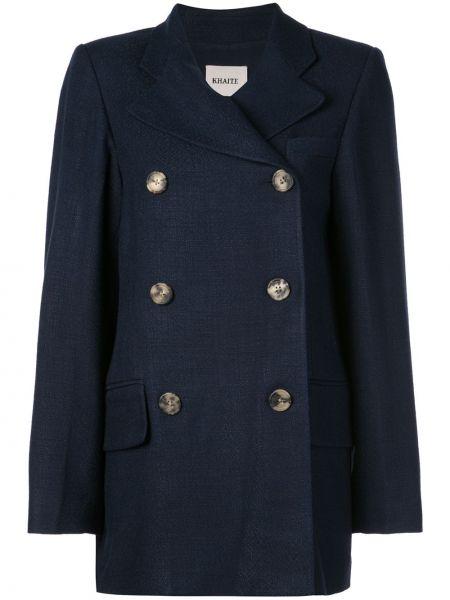 Синий удлиненный пиджак на пуговицах Khaite