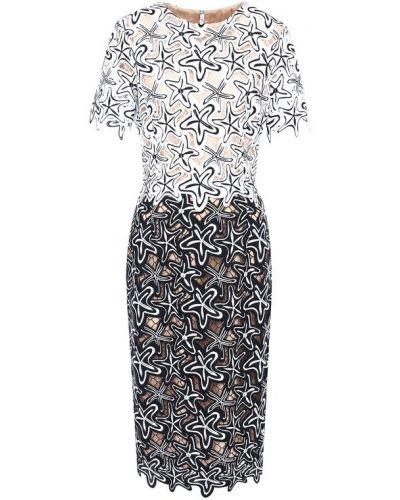 Платье в рубчик с вырезом Oscar De La Renta