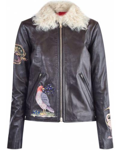 Кожаная куртка укороченная с вышивкой Red Valentino