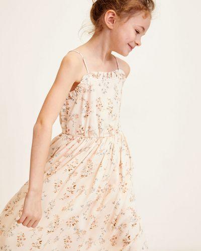 Платье хлопковое с поясом Mango Kids