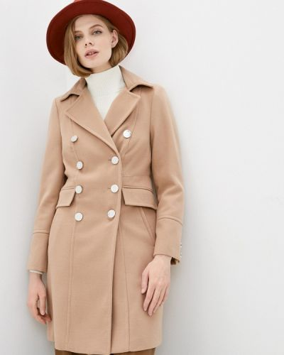Бежевое пальто двубортное Wallis