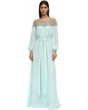 Платье макси с вышивкой с манжетами эластичное Marchesa
