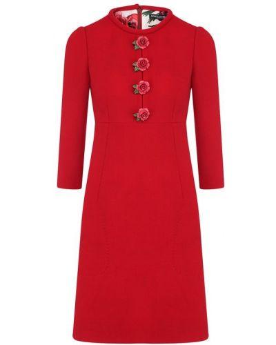 Платье мини с вырезом шерстяное Dolce & Gabbana