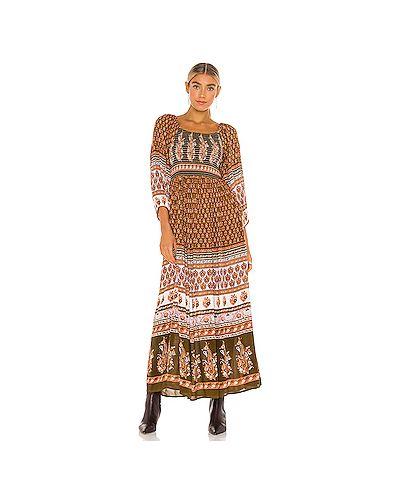 Коричневое платье макси свободного кроя из вискозы Free People