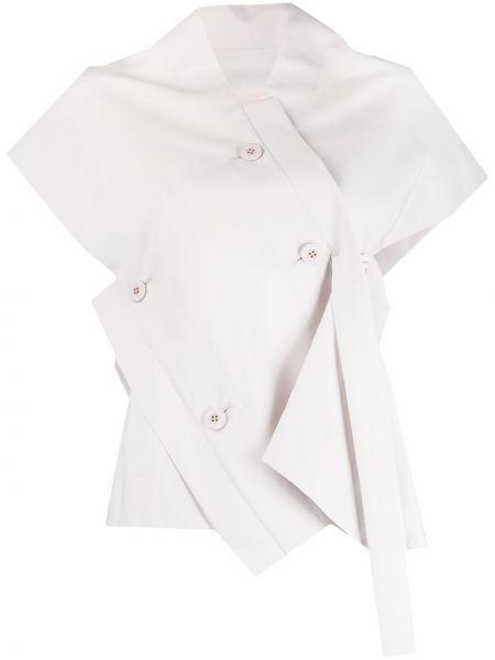 Bluzka krótki rękaw asymetryczna z dekoltem w serek 132 5. Issey Miyake