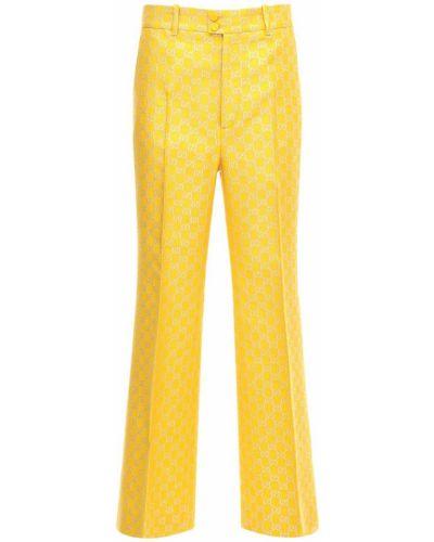 Rozbłysnął wełniany żółty spodnie z paskiem Gucci