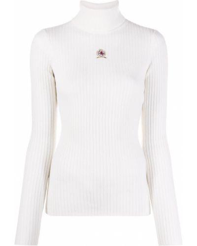 Кашемировый тонкий белый вязаный джемпер с высоким воротником Hilfiger Collection