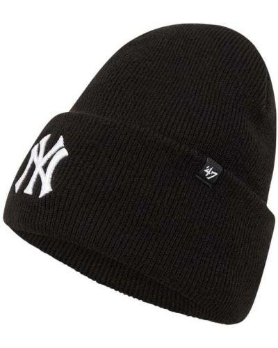 Miękki czarny czapka baseballowa z paskami '47