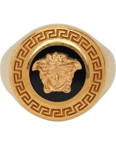 Czarny złoty medalion Versace