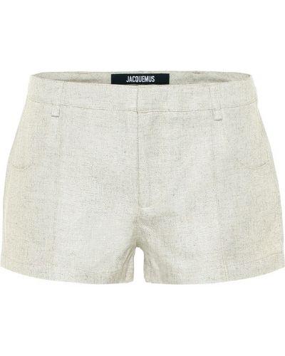 Бежевые льняные короткие шорты Jacquemus