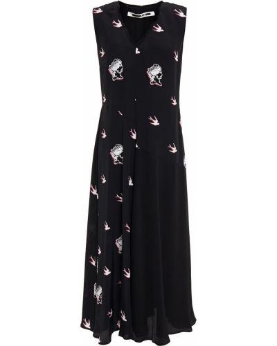 Расклешенное черное платье миди из вискозы Mcq Alexander Mcqueen