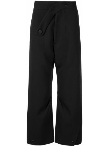 Czarne spodnie bawełniane asymetryczne Kiko Kostadinov
